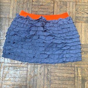J. Crew Grey and Orange Ruffle Mini Skirt XS